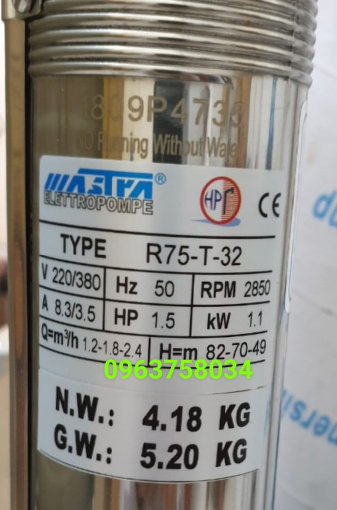 máy bơm mastra 1.1kw 3inch